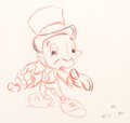 Animation Art:Production Drawing, Pinocchio Jiminy Cricket Rough Animation Drawing (WaltDisney, 1940)....