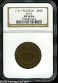 1767-A 9DEN French Colonies Copper Sou AU58 NGC. KM-6. Breen-700. No RF counterstamp. A splendid example with blended li...