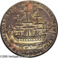 Colonials: , 1778-1779 TOKEN Rhode Island Ship Token, Wreath Below, Copper MS62Brown PCGS. Breen-1141, Betts-563. A satirical piece ini...
