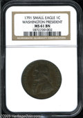 Colonials: , 1791 1C Washington Small Eagle Cent MS61 Brown NGC. Baker-16, R.3.D&H Middlesex-1050. Rich, mottled chocolate brown color....