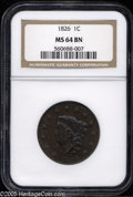 Large Cents: , 1826 1C MS64 Brown NGC. N-6, R.2. Lovely rich-brown example with good detailing. The present example is from an early die s...