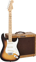Musical Instruments:Electric Guitars, 1958 Fender Stratocaster Sunburst Solid Body Electric Guitar,Serial # 025705 and 1958 Fender Deluxe Tweed Amplifier, Serial #...(Total: 2 )