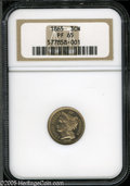 Proof Three Cent Nickels: , 1865 3CN PR65 NGC. Breen-2412. Golden example, with lightly frosteddevices and partially mirrored fields. The digits are c...
