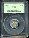 Proof Three Cent Nickels: , 1871 3CN PR66 PCGS. Bright nickel-gray surfaces exhibit touches oflight tan patina, and remain very well preserved. All of...