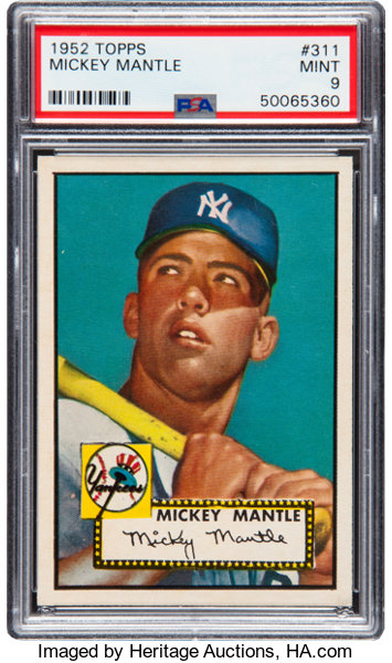 1952 Topps Mickey Mantle 311 Psa Mint 9 Baseball Cards Lot