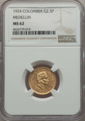 Colombia, Colombia: Republic gold 2-1/2 Pesos 1924 MS62 NGC,...