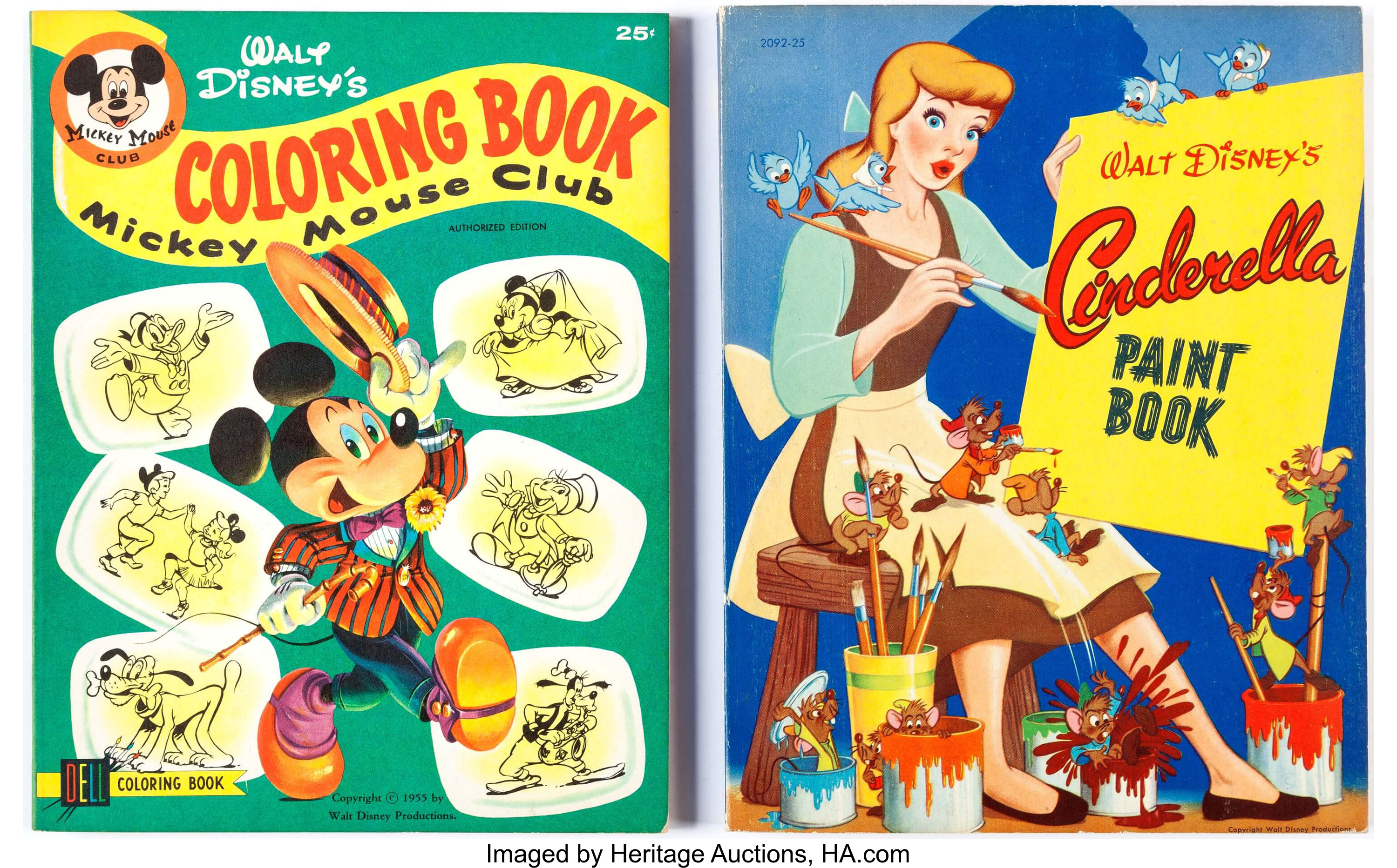 Walt Disney Cinderella and Mickey Mouse Coloring Books Group ...