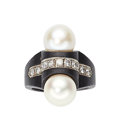 Estate Jewelry:Rings, Diamond, Cultured Pearl, White Gold, Steel Ring, Marsh & C...