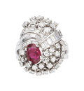 Estate Jewelry:Rings, Diamond, Ruby, Platinum Ring The ring features...