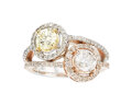 Estate Jewelry:Rings, Fancy Yellow Diamond, Diamond, Gold Ring The r...