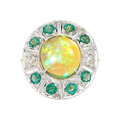 Estate Jewelry:Rings, Opal, Emerald, Diamond, Gold Ring  The ring fe...