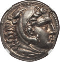 Ancients:Greek, Ancients: MACEDONIAN KINGDOM. Alexander III the Great (AD 336-323BC). AR tetradrachm (17.24 gm). NGC Choice AU 5/5 - 5/5....