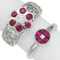 Estate Jewelry:Rings, Diamond, Ruby, White Gold Rings . ... (Total: 2 Items)