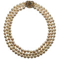 Estate Jewelry:Necklaces, Cultured Pearl, Sapphire, Diamond Gold Necklace . ...