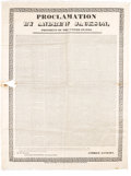 Political:Textile Display (pre-1896), Andrew Jackson: Nullification Crisis Presidential Message SilkBroadside....