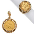 Estate Jewelry:Lots, Gold Coin, Gold Jewelry. ... (Total: 2 Items)