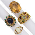 Estate Jewelry:Rings, Multi-Stone, Gold Rings . ... (Total: 4 Items)