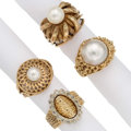 Estate Jewelry:Rings, Cultured Pearl, Gold Rings . ... (Total: 4 Items)