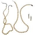 Estate Jewelry:Lots, Cultured Pearl, Diamond, White Gold, Silver Jewelry. ... (Total: 3 Items)