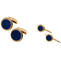 Estate Jewelry:Cufflinks, Lapis Lazuli, Gold Dress Set. ... (Total: 3 Items)