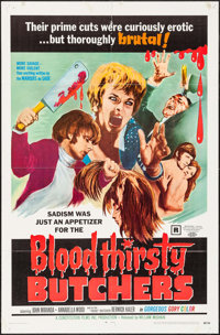 "Bloodthirsty Butchers (William Mishkin Motion Pictures Inc., 1969). One Sheet (27"" X 41""). Horror"