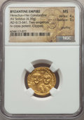 Ancients:Byzantine, Ancients: Heraclius (AD 610-641) and Heraclius Constantine.AVsolidus (4.39 gm).NGC MS 4/5 - 3/5, graffito, clipped....