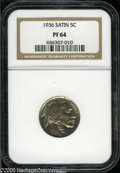 Proof Buffalo Nickels: , 1936 5C Type One--Satin Finish PR64 NGC. Lovely near-Gem examplewith ample satin-golden luster. Some minute carbon flecks ...
