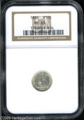 Seated Half Dimes: , 1864 H10C MS63 NGC. Lustrous, with surfaces that hold the slightestorange hue at the peripheries. This little coin was str...