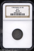 Early Dimes: , 1798 10C Large 8 VG10 NGC. JR-4, R.3. The NGC insert incorrectlyattributes the piece as a Small 8 JR-3. An example that ce...