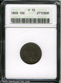 Early Dimes: , 1803 10C Fine 12 ANACS. JR-4, R.5. Heavy die cracks throughout thereverse confirm the rare die pairing. Primarily a deep v...