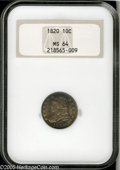 Bust Dimes: , 1820 10C Large 0 MS64 NGC. JR-2, R.3. Sea-green, chestnut-gold, androse-red colors illuminate the borders of this lustrous...