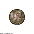 Bust Dimes: , 1831 10C MS65 NGC. JR-2, R.3. Peach, apple-green, and gunmetal-graycolors bathe this unmarked and exactingly struck Gem. A...