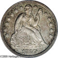 Proof Seated Dimes: , 1857 10C PR64 PCGS. This near-Gem Proof 1857 dime displaysexquisitely struck devices and light golden-gray toning. The su...