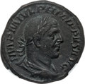 Ancients:Roman Imperial, Ancients: Philip I (AD 244-249). AE sestertius (21.11 gm). NGC AU5/5 - 3/5....
