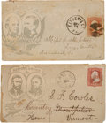 Political:Small Paper (pre-1896), Grant & Colfax and Seymour & Blair: A Matched Pair ofPostally-used Jugate Campaign Envelopes.... (Total: 2 Items)
