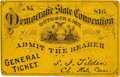 Political:Small Paper (pre-1896), Samuel J. Tilden: An Early Democratic Convention Ticket WithPrinted Signature....