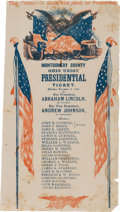 Political:Small Paper (pre-1896), Abraham Lincoln: Large Red, White, & Blue Electoral Ticket fromOhio....
