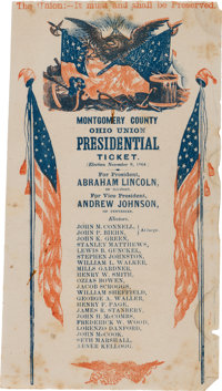 Abraham Lincoln: Large Red, White, & Blue Electoral Ticket from Ohio
