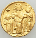 Ancients:Byzantine, Ancients: Heraclius (AD 610-641), with Heraclius Constantine andHeraclonas as Caesar. AV solidus (4.47 gm). About XF,overstruck....