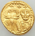 Ancients:Byzantine, Ancients: Heraclius (AD 610-641) and Heraclius Constantine.AVsolidus (4.42 gm).NGC AU....