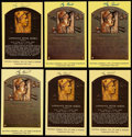 Autographs:Post Cards, Yogi Berra Signed Hall of Fame Plaque Postcard Collection (6)....