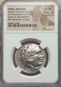 Ancients:Greek, Ancients: IONIA. Miletus. Ca. late 3rd-early 2nd centuries BC. ARtetradrachm (16.97 gm). NGC Choice XF 4/5 - 4/5....