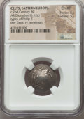 Ancients:Celtic, Ancients: DANUBE REGION. Uncertain tribe. Ca. 2nd century BC. ARscyphate didrachm (6.12 gm). NGC Choice XF 5/5 - 5/5....