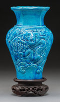 Asian:Chinese, A Chinese Ming-Style Blue Glazed Pottery Dragon Vase. 8-3/8 incheshigh (21.1 cm). ...
