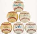 Autographs:Baseballs, Hall of Fame Single Signed Baseball Lot of 6.. ...
