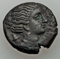 Ancients:Ancient Lots , Ancients: ANCIENT LOTS. Sicily. Ca. 4th-3rd centuries BC. Lot oftwo (2) AE issues. About XF.... (Total: 2 coins)