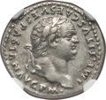 Ancients:Roman Imperial, Ancients: Titus (AD 79-81). AR denarius (3.50 gm). NGC Choice XF5/5 - 5/5....