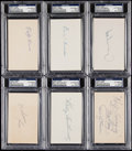 Autographs:Index Cards, Baseball Hall of Fame Signed Index Card Lot of 6.. ...
