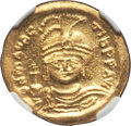 Ancients:Byzantine, Ancients: Maurice Tiberius (AD 582-602). AV solidus (4.51 gm). NGCChoice MS 5/5 - 4/5....