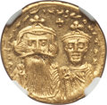 Ancients:Byzantine, Ancients: Constans II Pogonatus (AD 641-668), with Constantine IV.AV solidus (4.49 gm). NGC MS 5/5 - 4/5....